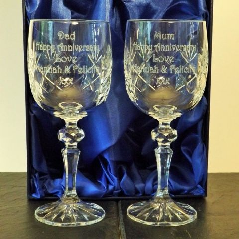 Engraved Pair Cut Crystal Wine Glasses Silk Lined Box Wedding Gift
